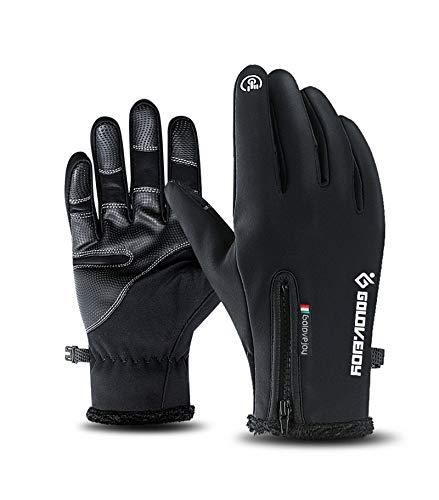 Outdoor Wasserdichte Handschuhe Winter Full Finger Reißverschluss Touchscreen Männer Und Frauen Winddicht Warm Reiten Sport Fleece Bergsteiger Skifahren,Black,S