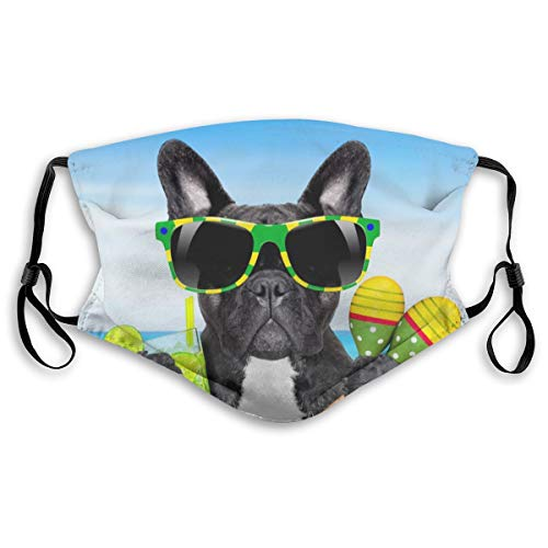 VOSGA Brazil French Bulldog Face Custom Reusable Half Buff Face Mask Funny Cute Balaclava Bandana Cloth Warmer