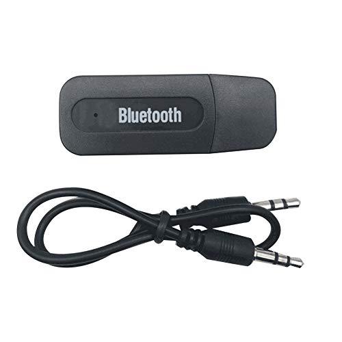 HshDUti Tragbarer drahtloser USB-Bluetooth-Audioempfänger-Musiksender 3,5 mm AUX-Kabel Black