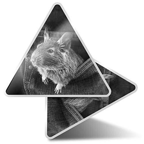 2 pegatinas triangulares de 7,5 cm - BW - Rata roedora Chile Degu Chileno Fun Calcomanías para portátiles, tabletas, equipaje, reserva de chatarra, neveras #36084