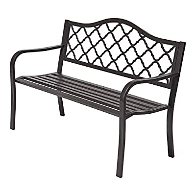 "Laurel Canyon 50"" Outdoor Patio Bench, Cast Iron 2-Person Metal Seating with Basket-Weave Design Backrest Furniture Chair for Porch Backyard Garden Pool Deck, Dark Brown"