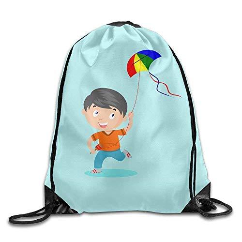 Dalylb Bolsos de Lazo,Equipaje,Mochilas A Kite Boy Large Exotic Drawstring Sport Backpack Sack Bag Sackpack