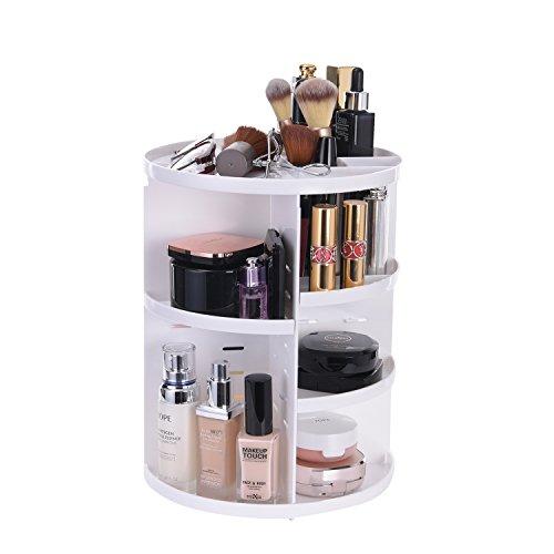 Makeup Organizer Large Capacity Cosmetic Storage Shelf 360° Rotating vanity Organizer holder adjustable Fits Lipstick Toner Essential Oils Creams Brush for Bathroom Countertop Bedroom kitchen (white)