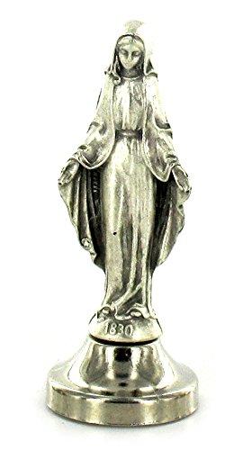 Ferrari & Arrighetti Estatua Virgen de los Milagros de Metal Plateado con imán - 5 cm (Paquete de 5 Piezas)