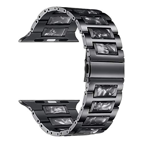 Price comparison product image DMMG Compatible with 44mm 42mm Apple Watch Band Colorful Black Resin Stainless Steel Wristbands Womens Mens Metal Link Wristbands Strap for Iwatch Series 6 5 4 3 2 1 SE (Black)