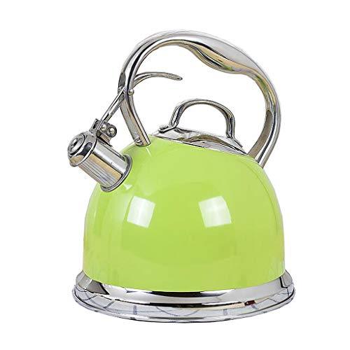 Bouilloire Épaissie Stovetop Teakettle Acier Inoxydable 304 3L Grande Capacité Fond Plat Whisker Cuisinière À Induction Gaz Universel 4 Couleur 24.5 * 20.5 * 18cm MUMUJIN (Color : Green)