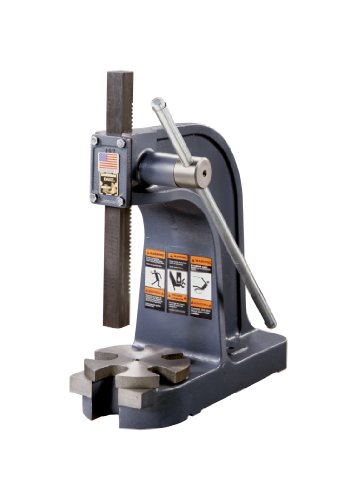 Dake 1 Model Single Leverage Arbor Press with Base Opening and Slotted Table Plate, 3 Ton Capacity, 11.5