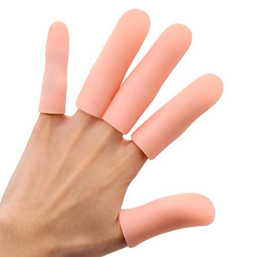 Sumiwish Fingerschutz, 10 Stücke Dicker Gel Finger Ärmel, Wasserdichter Silikon Fingerlinge für Finger Knacken, Finger Arthritis, Handekzem und mehr.