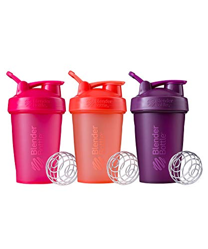 BlenderBottle Classic Shaker Bottle Perfect for Protein Shakes and Pre Workout, 20-Ounce (3 Pack), Coral and Pink and Plum