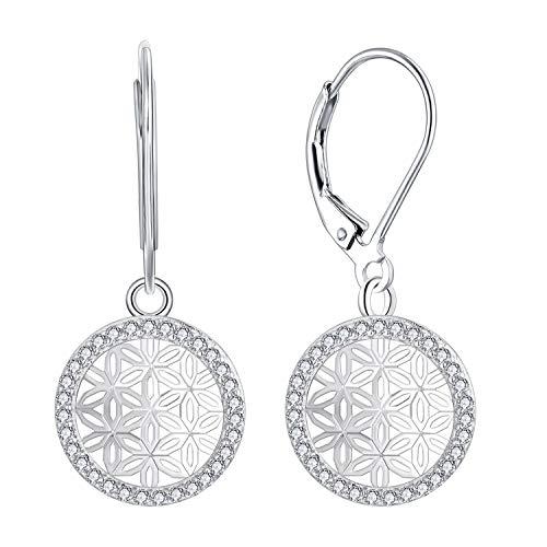 JO WISDOM Women Earrings,925 Sterling Silver Flower of Life Leverback Dangle & Drop...