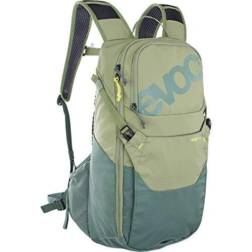 EVOC RIDE 16 Fahrradrucksack Bike-Rucksack für Outdoor-Aktivitäten oder den Alltagseinsatz (cleveres Taschenmanagement, belüftet durch AIR-PAD-Rückenpolsterung und Trinkblasenfach), Olive
