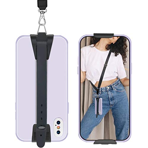 takyu Phone Lanyard, Universal Phone Strap with Adjustable Polyester Neck Strap, Crossbody Cell Phone Lanyard Compatible with Most Smartphones (Black)