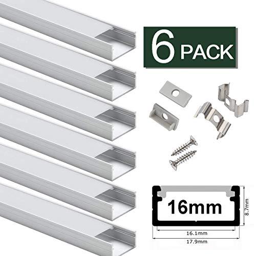 StarlandLed Binario in Alluminio 16 mm – 6x1MT Profili LED U-Figura per Strisce LED da Compatto Facile-da-tagliare con Accessori Completi di Montaggio– Compatibile con Philips Hue LightStrip Plus