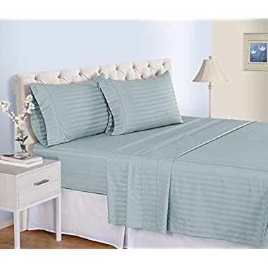 500 Thread Count Cotton Sheets Set - 100 Pima Cotton Pure Sateen Weave Long Staple Ultra Soft 4 Piece Bed Sheet Sets, Solids and Stripes Fits 18  Deep Pocket Mattress ; ( STRIPE, QUEEN - TURQUOISE )