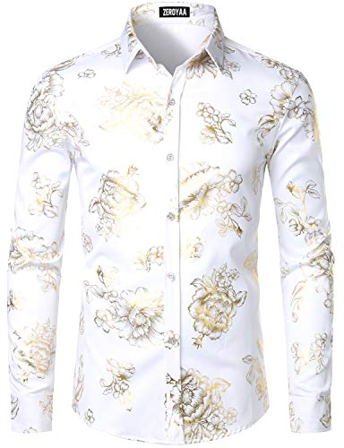 ZEROYAA Men's Luxury Shiny Gold Rose Printed Slim Fit Button up Dress Shirts for Party Prom ZZCL49 White Gold X Large