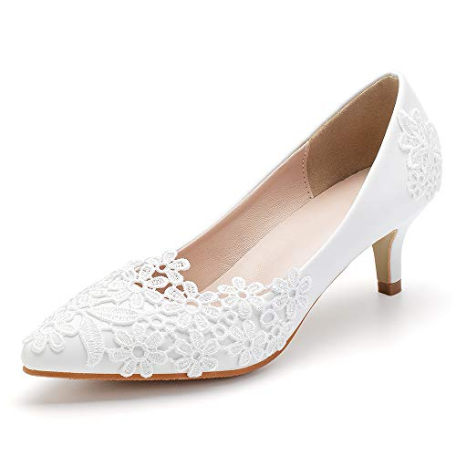 Dress First Women Low Heel Closed Toe Pumps Pointy Wedding Bridal Shoes with Stitching Lace White