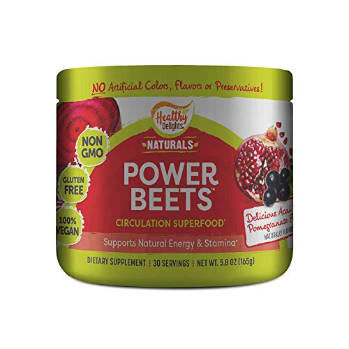 Healthy Delights Power Beets - Super Concentrated Non-GMO Beet Juice Powder - Delicious Acai Berry Pomegranate Flavor - 30 Servings, Red, 5.82 Ounce