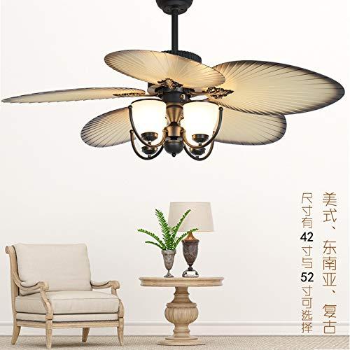 YY Ventilador mediterráneo luz retro sala de estar control remoto ventilador ventilador ventilador restaurante sala de estar e27 industrial viento fan (Blade Color : MODEL B)