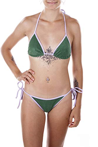 Replay Bikini Badeanzug Triangel BH + Slip (Grün/Lila, 36 A)