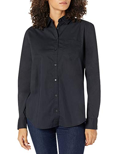 Amazon Essentials – Camisa de popelín de manga larga de corte clásico para mujer, Negro, US S (EU S - M)
