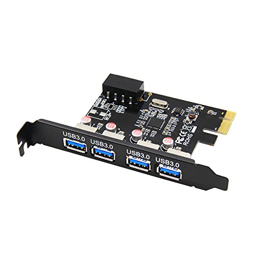 LFHUKEJI PCI-E to USB 3.0, COOSO Superspeed 4 Ports PCI-E to USB 3.0 Expansion Card,Interface USB 3.0 4-Port Express Card Desktop with 4 Pin Power Connector Black Pro