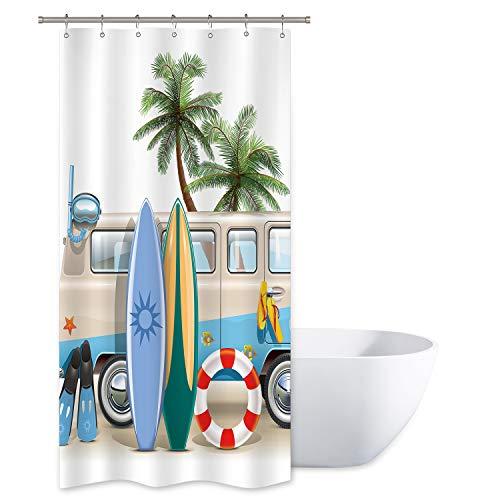 Riyidecor Duschvorhang, 91,4 x 182,9 cm (B x H), für Strand, Camping, Essen, Sonnenlicht, Palmen, Blau, Auto-Dekor, Polyester, wasserdicht, 7 Stück, Kunststoffhaken im Lieferumfang enthalten