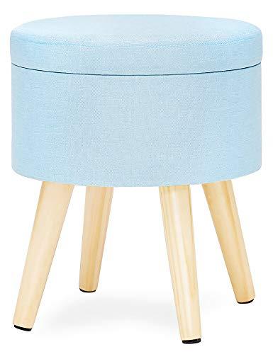 Taburete Redondo Puff Caja de Almacenamiento Asiento Extraíble Asiento de Lino Con Tapa Patas Madera Maciza para Dormitorio Salón Pasillo Azul Claro