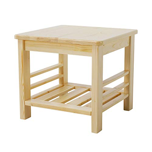 MallBoo Square Coffee Side End Table with Lower Shelf, 100% Natural Pine for Living Room and Bedroom (Natural)