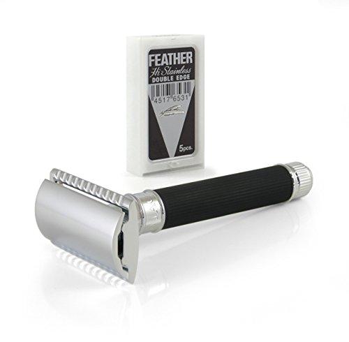 Ebony DE Safety Razor met rubberen coating - DE86RC14bl scheermes van Edwin Jagger