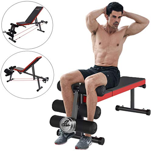 Home Gym Adjustable Weight Bench Foldable Workout Bench Lifting Support, Incline/Decline/Flat Perfect for Bench Press, Sit-ups, Leg Lifts, Full Body Fitness (Black)