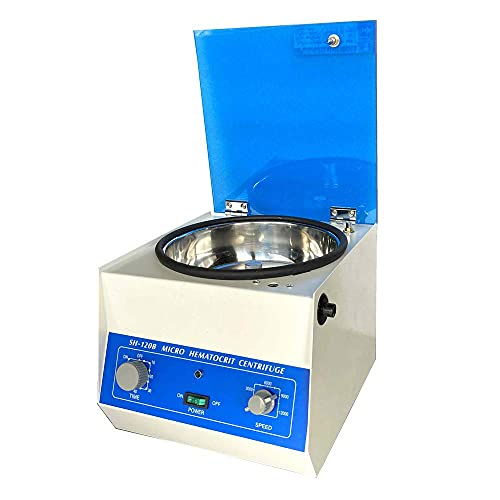 110V 100W Bench-top Centrifuge Brushless Motor Centrifugal Speed: 1500~12000 RPM High-Speed centrifuge with Timer and Speed Control for Biology Medicine Chemistry Food Education Beauty