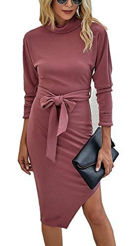 ZIYYOOHY Damen Elegantes Kleid Cocktailkleid Partykleid (Rosa, M)