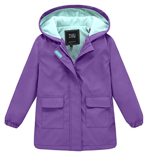 ZSHOW Girl's and Boy's Outwear for Camping Fleece Lined Hooded Raincoat Waterproof Ski Jacket Windbreaker(Orange+Black,8)