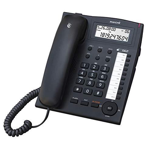 Panache PCR- 9000 Corded Landline Phone with Caller ID Backlight Display with Speakerphone, 10 Direct Memories (Black)