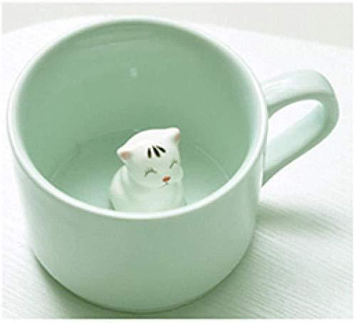 Taza de cerámica para café / té,Lindo animal verde de cerámica de gran capacidad 360 ml bebida animal taza de café regalo de cumpleaños_Panda_301-400Ml_Hippo_301-400ml