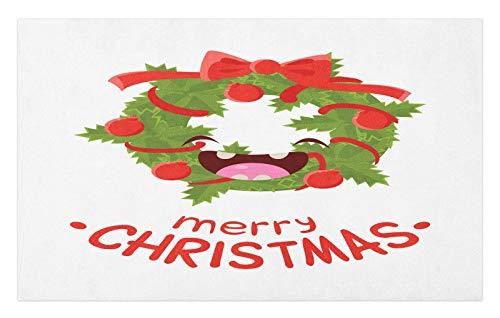 ABAKUHAUS Navidad Tapete, Adornos de Risa de la Guirnalda, Decorativo con Fieltro de Poliéster Estampado Base Antideslizante, 45 cm x 76 cm, Verde Verde Oliva Oscuro y Coral
