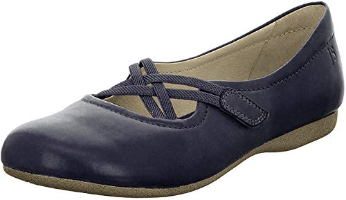 Josef Seibel Damen Riemchenballerinas Fiona 39,Weite G (Normal),Ladies,Women's,Flats,Halbschuhe,Slipper,Slip-ons,Lady,Blau (Ocean),40 EU / 6.5 UK