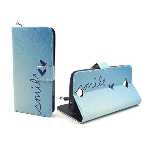 König Design Handyhülle Kompatibel mit Acer Liquid Z530 Handytasche Schutzhülle Tasche Flip Hülle mit Kreditkartenfächern - Smile Blau