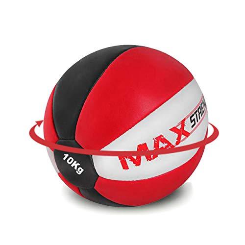 Max Strength - Balón Medicinal de Piel de Maya Resistente (8 kg, 10 kg, 12 kg), Negro Rojo