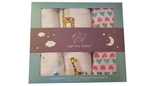 Egmao Lot de 3 couvertures d'emmaillotage en mousseline pour bébé 100% coton pour garçons et filles Ultra doux, respirant et mignonne couverture pour nouveau-né Cadeau de fête prénatale
