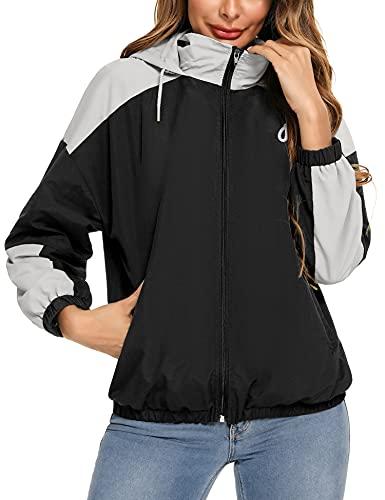 Doaraha Abrigo Impermeable para Mujer, Chaqueta de Cortavientos con Capucha para Mujer, Chubasquero Deportivo Plegable para Aire Libre, Chaqueta Impermeable Secado Rápido, Negro y Gris, XL