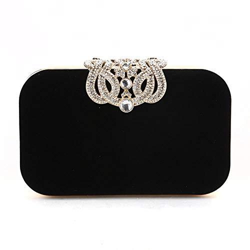 Furnace fire Bolso del vestido de noche con adornos de diamantes Bolso del embrague de las mujeres Bolso de noche del diamante de la corona Bolso de embrague de la señora Negro
