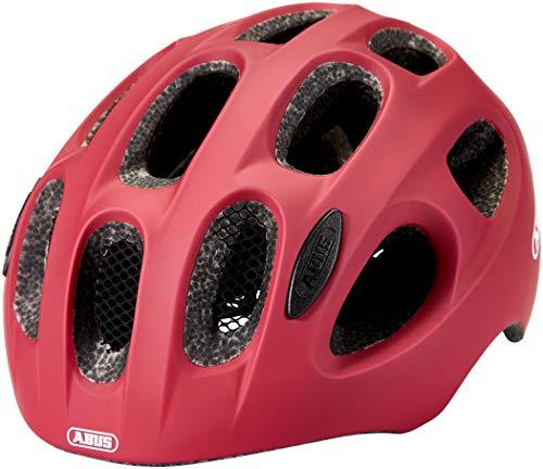 ABUS Youn-I Kinderhelm - Moderner Fahrradhelm für Kinder mit LED-Rücklicht für den Alltag - für Mädchen und Jungen - 84139 - Dunkelrot, Größe S
