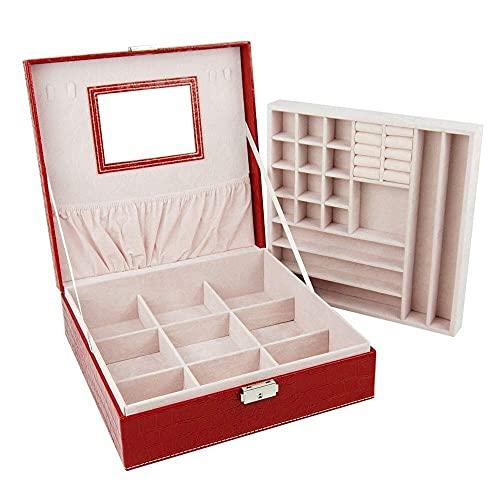 JIANGCJ Bella Caja de exhibición de Joyas de Cuero PU de 2 Capas con Loca y Espejo Joyas de joyería para Anillos Pendientes Pulseras Caja de baratijas