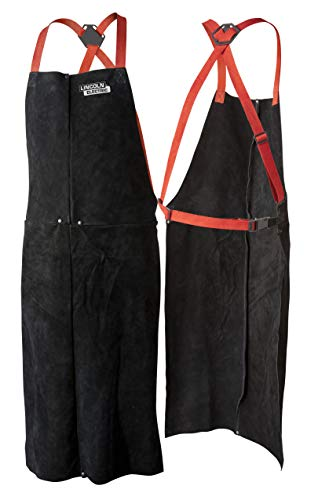 """Lincoln Electric Leather Welding Apron   42"""" Length   Adjustable Fit   Black  K3110-ALL"""