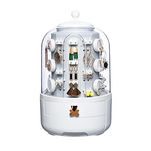 Caja de almacenamiento giratoria actualizada, caja de almacenamiento de joyería de escritorio, caja de almacenamiento giratoria de la torre de joyería para collar de pulsera (blanco)