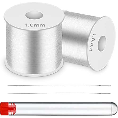 0.5 mm and 1 mm Crystal Elastic Rope for Bracelet, 656 Feet Clear White Stretchy Bead Cord with Thread Clipper and 2 Pieces Threader Beading Needle for Seed Bead, Pony Bead, Jewelry Making