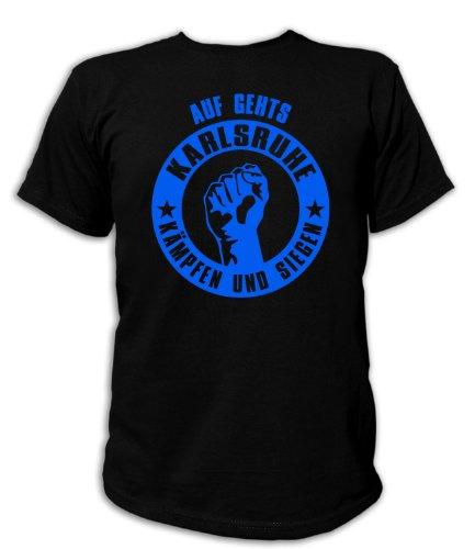 Artdiktat T-Shirt Auf geht´s Karlsruhe kämpfen und Siegen Unisex, Größe XL, schwarz
