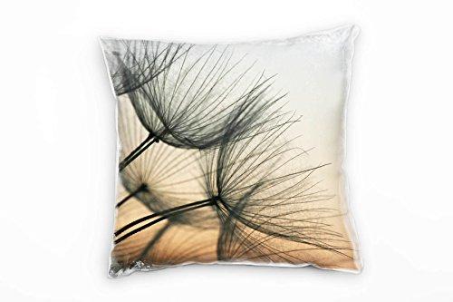 Paul Sinus Art Macro, Blumen, orange, grau, Pusteblume Deko Kissen 40x40cm für Couch Sofa Lounge Zierkissen - Dekoration zum Wohlfühlen