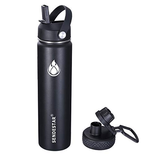Sendestar Stainless Steel Water Bottle-24oz,40oz, 64oz, with New Straw Lid and Spout Lid, Keeps Liquids Hot or Cold with Double Wall Vacuum Insulated Sweat Proof Sport Design (24 oz-Black)